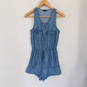 Iris Blue Tencel Chambray Romper
